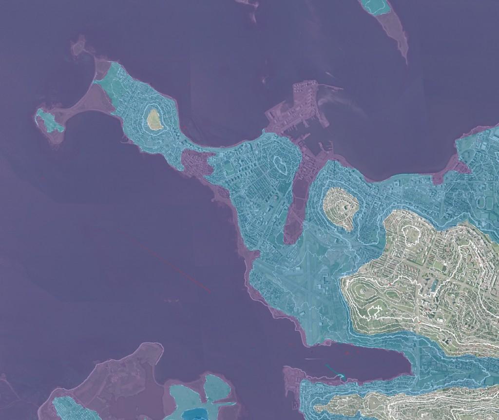 Sjávarstöðuhækkanir í Reykjavík á næstu öldum, fjólublátt sýnir 5 m hækkun og ljósblátt 25 m hækkun sjávarstöðu